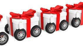 Подарочные коробки на колесах, концепции поставки подарка, анимации перевод 3D изолированный на белой предпосылке бесплатная иллюстрация
