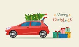 Подарочные коробки рядом с хоботом автомобиля С Рождеством Христовым стилизованное оформление бесплатная иллюстрация