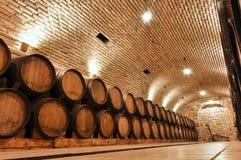 Подвал винодельни с деревянными бочонками Стоковая Фотография
