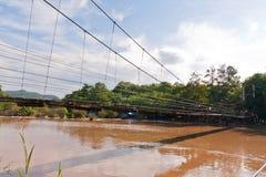 подвес моста бортовой деревянный Стоковые Фотографии RF