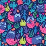 Подводная безшовная картина с котами русалкой, морской водорослью и кораллами иллюстрация штока