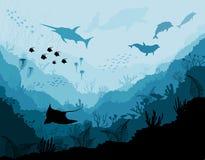 Подводная живая природа, Scat, акула, дельфины иллюстрация вектора