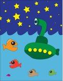 подводная лодка ночного неба Стоковые Изображения