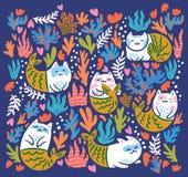 Подводная печать с котами русалкой, морской водорослью и кораллами r иллюстрация штока