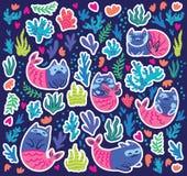 Подводные стикеры с котами русалкой, морской водорослью и кораллами r иллюстрация штока