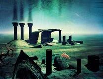 Подводный мир и руины бесплатная иллюстрация