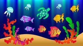 Подводный мир с рыбами, черепахой, медузой, водорослями Vector беда бесплатная иллюстрация