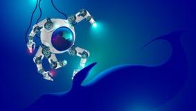 Подводный робот исследует глубину океана подводная лодка глубоководья малая с робототехническими оружиями погруженная на морском  Стоковая Фотография RF