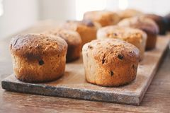 Подготавливать домодельное kulich торта пасхи сфокусируйте мягко Стоковые Изображения