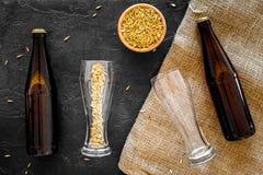 Подготавливать пиво Ячмень около пивной бутылки и стекла на черном взгляд сверху предпосылки Стоковая Фотография RF