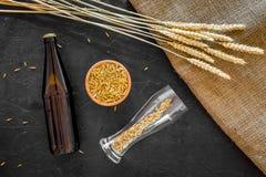 Подготавливать пиво Ячмень около пивной бутылки и стекла на черном взгляд сверху предпосылки Стоковые Фото