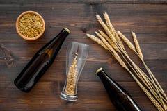 Подготавливать пиво Ячмень около пивной бутылки и стекла на деревянном взгляд сверху предпосылки Стоковые Изображения RF