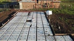 Подготовка бетонной плиты строительной площадки сляба Waffle австралийская сток-видео