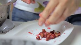 Подготовка вишни пока варящ чизкейк сток-видео