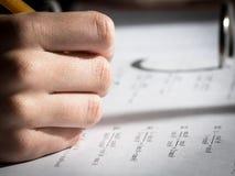 Подготовка домашней работы математики и алгебры Стоковое фото RF
