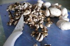 Подготовка еды гриба с луком и сливк Стоковая Фотография