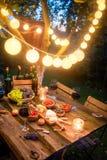Подготовка на ужин с вином и плодами в вечере стоковое изображение