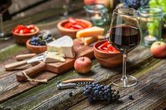 Подготовка на ужин с закусками и вином в загоренном саде стоковое фото rf