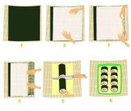 Подготовка суш в изображениях Постепенная инструкция Делает оно себя национальная японская кухня Крены морепродуктов и риса иллюстрация штока