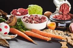 Подготовка сырцовой еды barf для собаки или кота стоковое фото