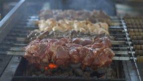 Подготовка shish kebab с красным и белым мясом, жаря мясо на углях, шеф-повар периодически переключает мясо дальше акции видеоматериалы