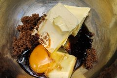 Подготовки для делать торта - ингридиенты торта Стоковое Изображение