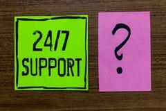 Поддержка 7 текста 24 почерка Смысл концепции давая помощь не обслуживать весь все время никакое примечание Impor зеленой книги в стоковые фотографии rf