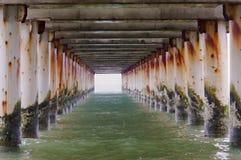 Поддержки прогулки моря, конкретные штендеры бетона армированного в воде стоковое фото