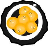 Поддонник с 6 мандаринами Иллюстрация штока