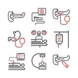 Поджелудочные симптомы Карциномы панкреаса Причины Диагностики Линия набор значков Знаки вектора для графиков сети стоковое изображение rf