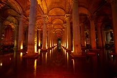 Подземная цистерна базилики, Стамбул, Турция Стоковая Фотография RF