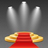 Подиум золота с красным ковром Победитель в первом месте Яркий белый свет от прожекторов Постамент золота Праздничный случай V иллюстрация штока