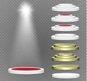 подиум на прозрачной предпосылке подиум победителей с яркими светами фара освещение также вектор иллюстрации притяжки corel Стоковые Фотографии RF