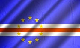 Подлинный красочный флаг Кабо-Верде Стоковая Фотография