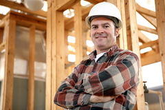 подлинный рабочий-строитель Стоковое Фото