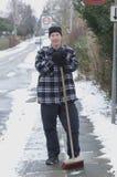 подметать снежка Стоковое Изображение RF
