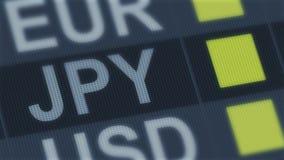 Поднимать японских иен, понижаясь Валютный рынок мира Тариф валюты изменяя иллюстрация вектора