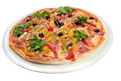 поднимающее вверх близкой итальянской неаполитанской пиццы вкусное стоковое изображение