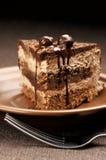 поднимающее вверх конца шоколада торта домодельное Стоковая Фотография RF