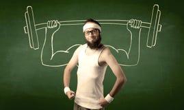 поднимаясь детеныши веса человека Стоковое Изображение RF