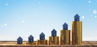 Поднимая цены на дом 3d-illustration иллюстрация вектора
