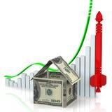 Поднимая цены недвижимости Концепция бесплатная иллюстрация