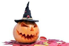 Поднимите голову домкратом ` s фонарика высекаенного от тыквы на хеллоуин стоковая фотография