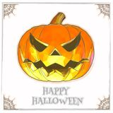 Поднимите тыкву домкратом в мягком цвете на белом BG на хеллоуин иллюстрация штока