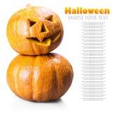 Поднимите фонарик домкратом на хеллоуин сделал из изолированной тыквы Стоковое Изображение