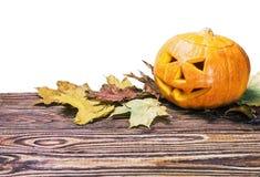 Поднимите фонарик домкратом на хеллоуин сделал из изолированной тыквы Стоковое Фото