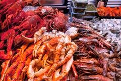 Подносы омаров, раков и шримса. стоковые фотографии rf