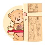 поднос игрушечного удерживания завтрака медведя Стоковое Изображение