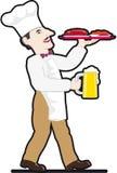 поднос кружки еды шеф-повара пива Стоковые Изображения