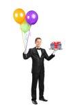 поднос нося дворецкия воздушного шара стоковые фото